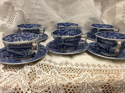 Six Copeland Spode Blue Italian Cups And Saucers • 25£