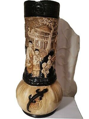 Antique Very Large Bretby Art Pottery Chinoiserie Oriental Vase With Lizard  15  • 89.99£