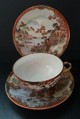 Antique Noritake Cabinet Cup & Saucer Hand Painted Oriental Scene .  • 18£