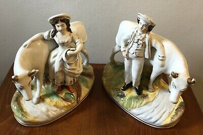 Pair Of Antique Staffordshire Pottery - Milkman & Milkmaid With Cows • 15£