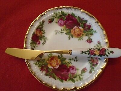 Old Country Roses  Butter Pat Coaster And Good Match Gold Plated  Butter Knife • 8.99£