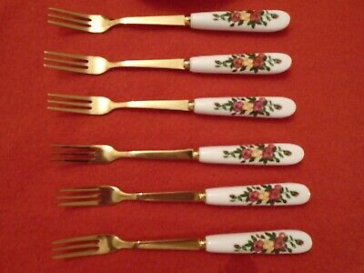 * Good Match Old Country Roses *** 6  GOLD PLATED Cake / Dessert Forks UNUSED • 14.99£