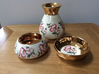 Prinknash Pottery Vase, Bowl & Dish Gold And Cream Wild Rose Design • 4.85£