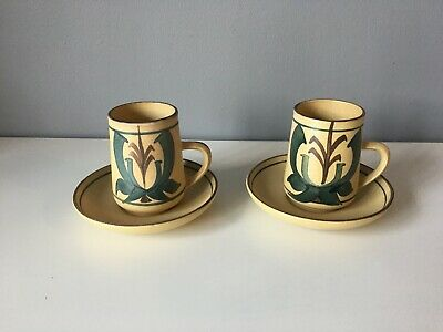 2 X Honiton Pottery Coffee Cups And Saucers - Aldermarston Range - 1970's • 15£