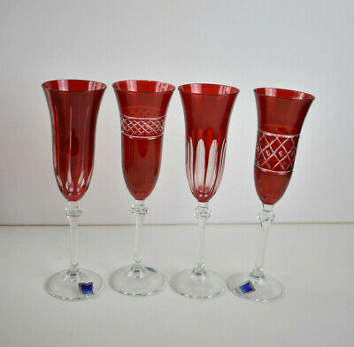 LE STELLE RUBY RED CUT WINE GOBLETS / GLASSES - SET OF 4 - Cristal Design Italy • 52.46£