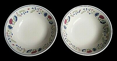 BHS Priory Blue Red Pink Flowers Pattern 6½ Inch Bowls X2 (4 Avail) • 11.99£
