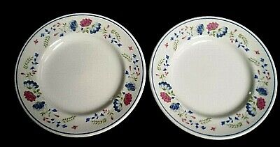 BHS Priory Blue Red Pink Flowers Pattern 7 Inch Side Plates X2 (4 Avail) • 11.99£