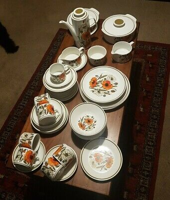 J & G Meakin Retro Vintage Poppy Joblot, Cups,plates,coffee Pot, Jugs, Bowls. • 49.99£