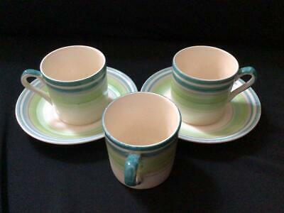 Vintage Grays Pottery Hand Painted 3 X Banded Espresso Cups / Cans + 2 X Saucers • 24.99£