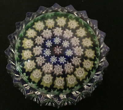 Perthshire Small Millefiori Glass Paperweight - Paper Label - Excellent Cond • 9.99£