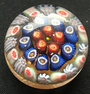 Small Millefiori Glass Paperweight - Beautiful Detail Canes - Excellent Cond • 9.99£