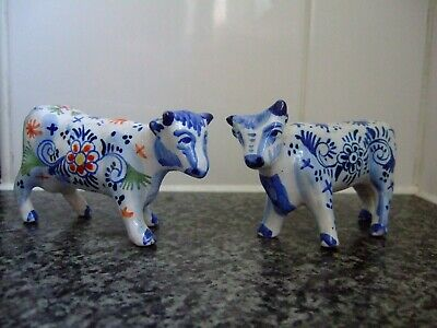 Two Old French Faience Delft Pottery Style Model Cows ~ Factory Marks • 9.99£