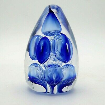 Vintage Langham Glass Sapphire Blue Bubble Paperweight  Happy Birthday  Signed • 19.94£