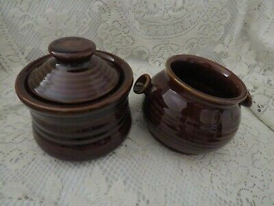 Vintage Brown Pottery Earthenware Small Casserole Pot & Soup Pot Country Kitchen • 12.50£