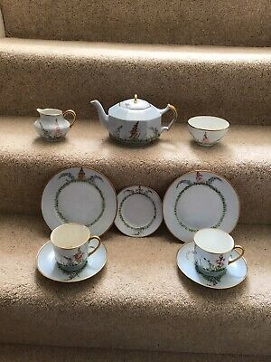 1930s Hand Painted China Tea Set For Two In Pale Blue With A Floral Pattern • 20£