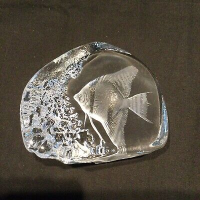 MATS JONASSON Signed Lead Crystal Clear Glass Angel Fish Paperweight Sweden • 18.08£