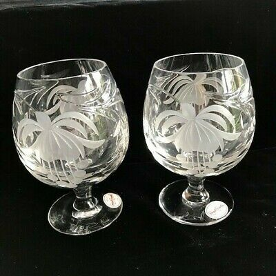 PAIR OF ROYAL BRIERLEY  FUCHSIA BRANDY GLASSES - NEW + LABELS (more Available) • 40£