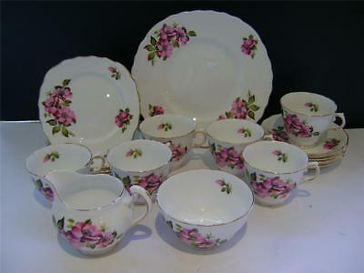 Pretty 20 Piece Tea Set In  Pink Rose  Design By Royal Vale. • 40£