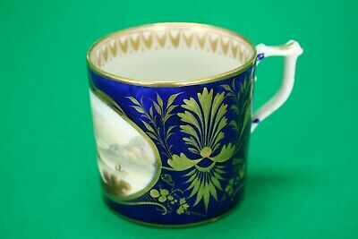 Derby Porcelain Coffee Can - On The River Rhone - C. 1815 - Gilt On Blue Ground • 29.99£