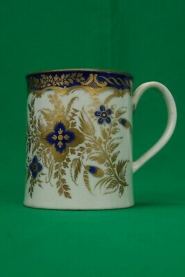 Super 18th Century Worcester Tankard With Crescent Mark - Blue & Gilt Flowers • 19.99£