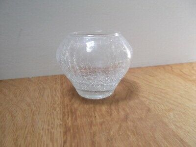 1 X Clear Crackle Glass T-light, Posy Bowl, With Candle, Bargain Low Start. • 3.99£