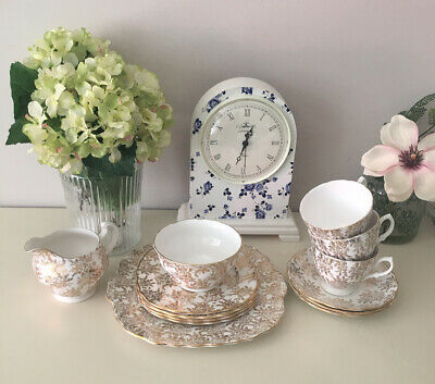Royal Vale Gold Chintz Cups & Saucers/Sugar Bowl/Cream Jug/Cake Plate/Side Plate • 12.50£