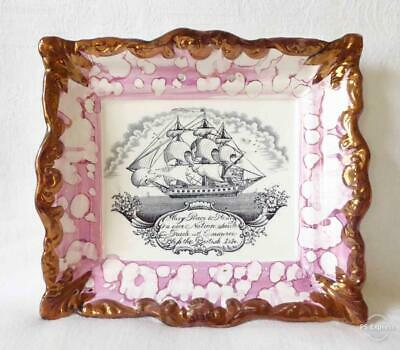 Antique Early /mid 19th Century Sunderland Lustre Plaque A Tea Clipper & Verse • 9.99£
