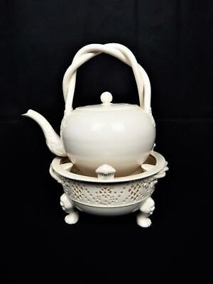 Beautiful Leeds Pottery Creamware Very Large Tea Pot/ Ketttle On Footed Stand • 29.95£
