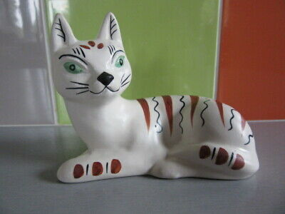 Rare Collectable Mid Century Studio Pottery Sandygate Green Eyed Cat - Devon  • 25.99£