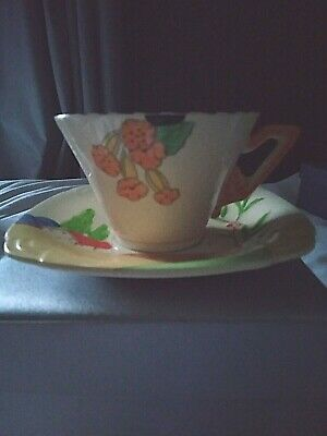 Burleigh Ware Art Deco Hand Painted Cup & Saucer Duo Mismatch • 14.75£
