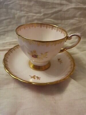 Pretty Vintage Tuscan English China Tea Cup & Saucer Pink Floral Gilded  • 24.99£