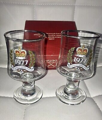 Boxed Pair Of Vintage QE II Queen Silver Jubilee 1977 Dema Glass Goblets UK Made • 3.99£