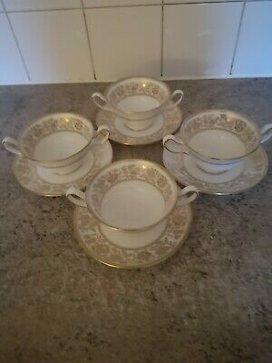 Wedgwood Gold Damask Soup Cups And Saucers X 4 • 45£