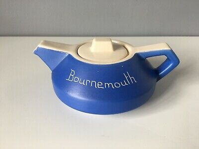 Devonmoor Pottery Blue Teapot With Bournemouth To The Front • 5£