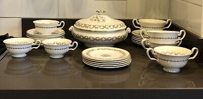 Wedgewood Sandringham Pink Ribbon Inc Soup Tureen, Bowls, Cups, Side Plates... • 50£