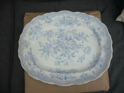 Antique Large Pottery White And Blue Serving Dish Flowers And Birds • 18£