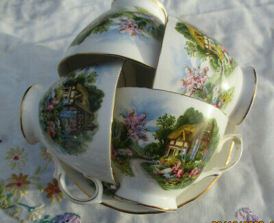 Vintage Royal Vale Bone China Set Of 4 Cups & Saucers Thatched Cottage 7382 VGC • 13.89£