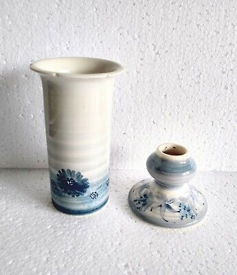 Jersey Pottery - Bud/ Vase & Small Candle Stick, Blues, Leaf & Floral Designs • 4.25£