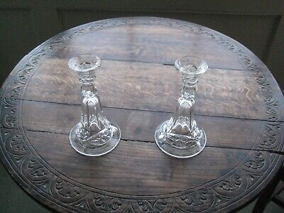 Pair Of Vintage Pressed Glass Candlesticks With Star Design • 10£