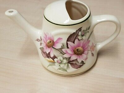 Brixham Pottery Miniature Watering Can With Pink Flowers On The Side • 8.99£