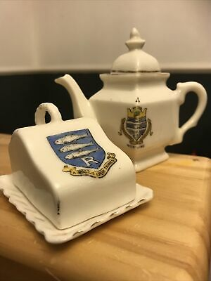 Gemma Crested Miniture China Teapot And Cheese Dish • 1£