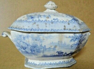 Antique Sauce Tureen Blue White Early 19th Century Hunting • 18.99£