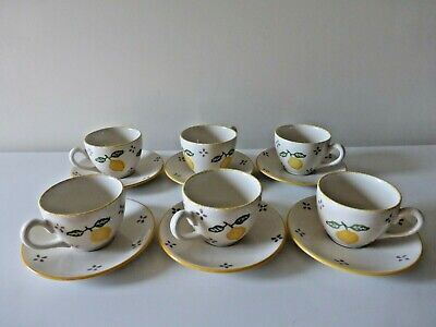 Set Of 6 China Cups & Saucers By Laura Ashley Hand-Decorated With Lemon Design   • 18.50£