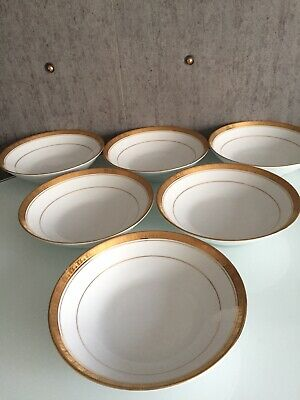 Stunning Set Of 6 Noritake Porcelain Legacy Gold Soup Plates • 18£