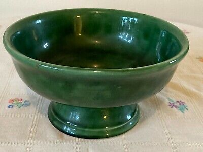 Beautiful Green Glazed Secla Footed Pedestal Fruit Bowl From Portugal • 25£