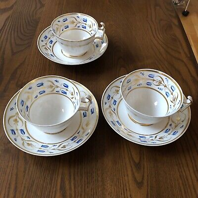 Early Hand Painted Antique Spode Bone China Set Of 3 Cups And Saucer C1820 • 19.99£