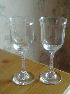 PaIr Of Vintage Twisted Stem Glasses -possibly Sherry Glasses • 8£