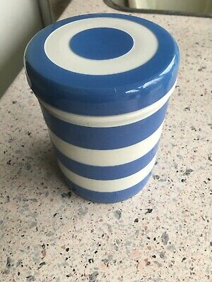 T G Green 'Cornishware' Kitchen Storage Jar With Lid, Blue And White • 12.50£