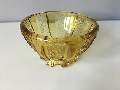 Vintage Small Pressed Glass Amber Bowl In Good Condition • 8.50£