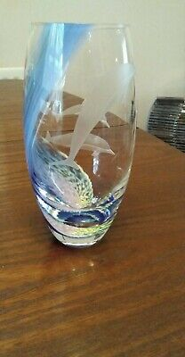 Caithness Glass Vase Blue Etched With Dolphins  • 13.50£